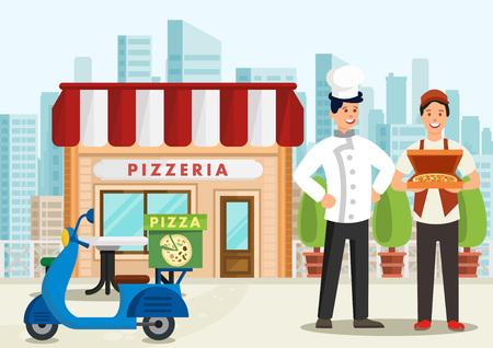 Cartoon pizzaiolo è in piedi accanto al corriere pizza su scooter. Concetto di pizzeria. Illustrazione vettoriale. ClipArt.