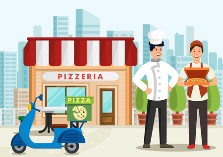 Cartoon pizzaiolo is standing next to pizza courier on scooter. Pizzeria concept. Vector illustration. Clipart.
