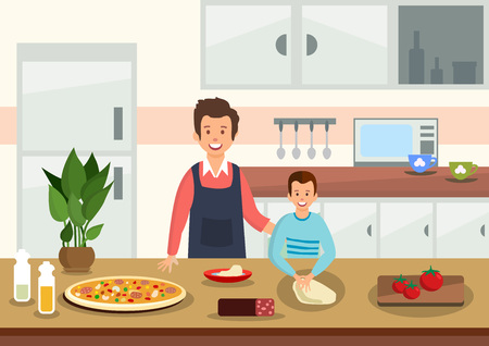 Cartoon father helps son to knead dough for pizza in kitchen. People prepare Italian food. Vector illustration. Stock Illustratie