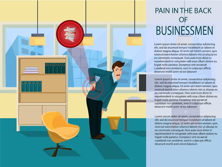 Pain in Back Businessmen. Protrusion of Intervertebral Disc. Worker feeling Pain in Back. Man has Back Pain on job. Medicine and health. Pain in Spine while working. Vector Illustration. Çizim