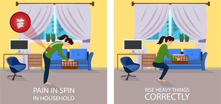 Pain in Spin in Household. Rise Heavy things correctly. Correct and Wrong Position. Pain in Spine with Lifting of Weight. Lifting Box Correct and Incorrect Position. Vector Illustration.