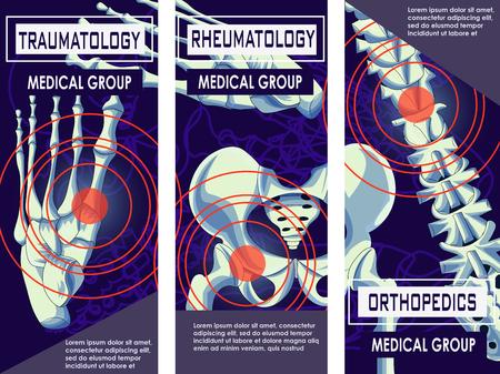 Bannière de médecine rhumatologie, orthopédie et traumatologie. Articulations et os de l'homme. Conception de vecteur des os et des articulations du corps humain aux rayons x. Colonne vertébrale squelette. Illustration vectorielle. Vecteurs
