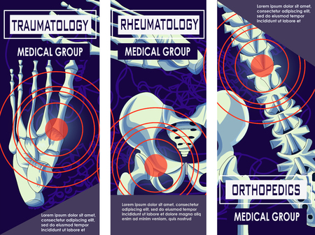 Rheumatology, Orthopedics and Traumatology Medicine Banner. Joints and Bones of human. Vector design of x-ray Bones and Joints of human Body. Skeleton Spine. Vector Illustration.