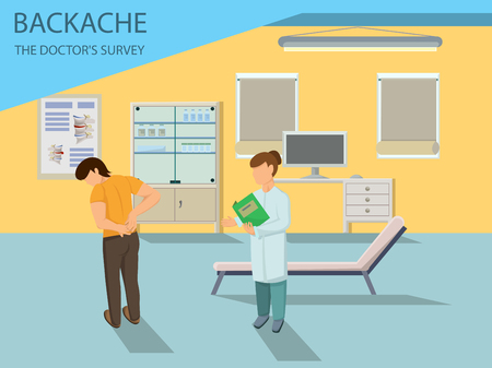 Doctor examines Patient with Back Pain. Visit the Hospital and Treatment of Spine. Treatment of Low Back Pain. Back Pain Medical concept. Doctor and Patient in Hospital. Vector Illustration.