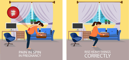 Position when Lifting things for Pregnant. Correct and Wrong Position. Pain in Spine with Lifting of Weight. Pain in Spine in Pregnancy. Rise Heavy things correctly. Vector Illustration. Illustration