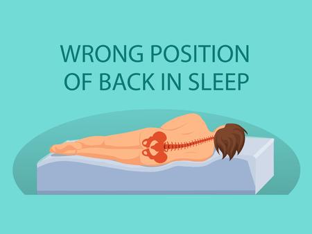 Wrong Position of Back in Sleep. Bad Mattress for sleeping. Position of Back during Sleep. Pain in Spine. Spinal curvature during Sleep. Poor Back Position during Sleep on Side. Vector Illustration. Illustration