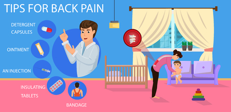 Tips for Back Pain for Mom. Bad Position for Hold Child. Recommendations for Treatment of Pain. Correct Posture for Mom. Positions for Hold little Baby. Vector Illustration.