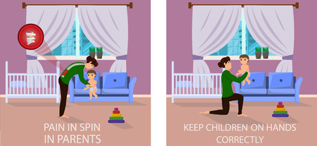 Correct and Wrong Positions for Holding Baby. Pain in Spin in Parents. Keep Children on hands correctly. Pain in Spine with Lifting Child. Correct and Incorrect Position. Vector Illustration.