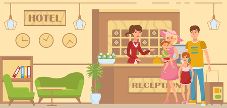 Family is Accommodated in Hotel. Booking a Hotel. Parents with Children are Accommodated in hotel. Service on Vacation. Happy Family came to Rest. Rest at resort. Vector Illustration. Vettoriali