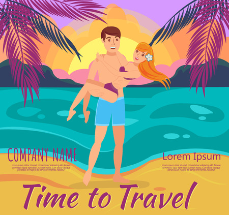Man and Woman on Beach. Vacation and Travel to Exotic countries. Man embraces Woman on shore of Beach at Sunset. Vector Illustration. Romantic encounter at Sunset. Vector Illustration.