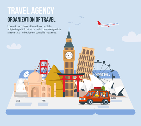 Traveling Family on Vacation. Parents and Children Travel World. Design for Travel Agency. Time to Travel in Vacation. Travel around Globe. Tourism and Vacation. Vector Illustration.