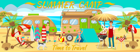 Summer Camp on Beach. Active rest on Beach. Travel by Car along Coast. Family Vacation on Beach. Picnic near Sea. Vacation Camping near Sea. Van for traveling. Vector Illustration. Traveling with Dog.