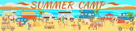 Summer Camp on Beach. Active rest on Beach. Travel by Car along Coast. Family Vacation on Beach. Picnic near Sea. Vacation Camping near Sea. Van for traveling. Vector Illustration.