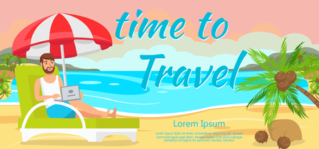 Old People Accommodation in Hotel. Booking a Hotel. Service on Vacation. Old People came to Rest. Rest at Resort for Elderly. Old People Rest in Summer at Sea. Vector Illustration.