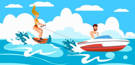 Girl goes for Water Skiing after Boat. Active Holiday on Sunny Day. Sport on Vacation. Water Ski Rental. Vector Illustration. Sea and Sun on weekend. Man on Boat skates Water skier.