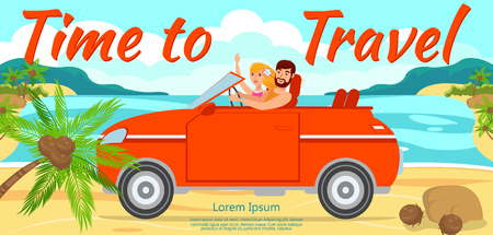 Boy and Girl Travel by Car to Sea. Man and Woman traveling by Car along Beach. Trip by Car on Vacation. Honeymoon Trip to Sea. Friends Ride by Car. Travel on sunny day. Vector Illustration.