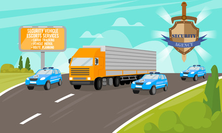 Security Vehicle Escort Services. Safety and Security Company. Work of Security Agency. Services for Security of Objects. Escort Cars on Road. Ensuring the Safety of movement. Vector Illustration. Illustration