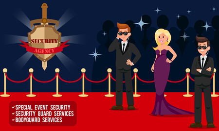Work of Security Agency. Special Event Security, Security Guard Services, Bodyguard Services. Bodyguards for Show Business. Protection of People. Vector Illustration.