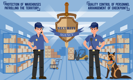 Work of Security Agency. Protection of buildings and public institutions. Strong Men Guarding Security. Safety and Security Company. Services for Security of objects. Vector Illustration.