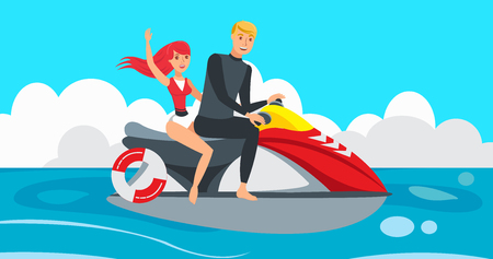 Boy and Girl riding Jet Ski. Water Sports on Sunny Day on Vacation. Boy and Girl are resting. Family on Vacation at Sea. Entertainment at Sea. Active rest on Vacation. Vector illustration.
