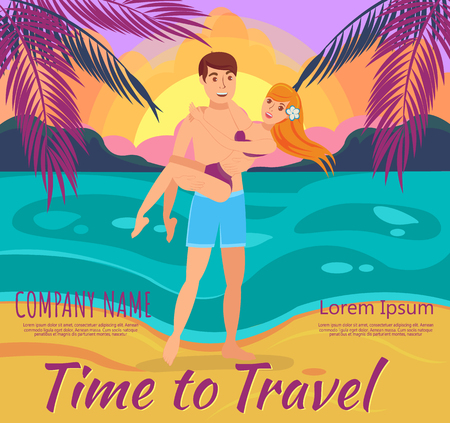 Man and Woman on Beach. Vacation and Travel to Exotic countries. Man embraces Woman on shore of Beach at Sunset. Vector Illustration. Romantic encounter at Sunset. Vector Illustration. Illustration