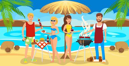 Conocer buenos amigos en la playa. Los amigos hicieron una barbacoa en la arena. La gente se divierte, come y bebe en la playa. Día soleado con amigos. Comunicación y Recreación al aire libre.