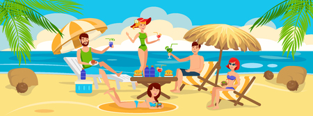 Friends eat and Drink Cocktail on Beach. Meeting Friends on Beach. Friends Weekend at seashore. Sea, Sun and Sand on a Holiday. Active rest a big Company. Friends are hav Fun and Relax. Illustration