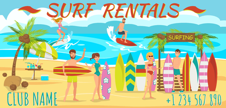 Friends are Surfing on Beach. Surfboard rental on Beach. Active Sports on Sunny Day. Man and Woman are surfing. Friends rest on Beach at weekend. People engaged in Water Sports. Vector Illustration. Illustration