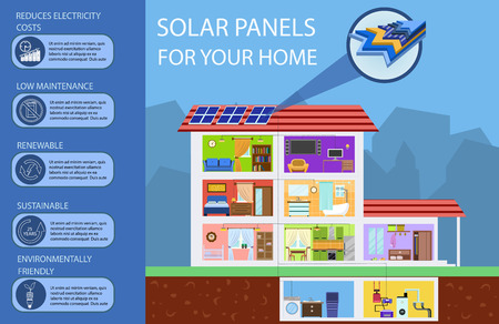 Solar Batteries for Home. Green Energy, Ecology. Solar Panels in Building. Alternative Energy from Sun. Section of Solar Batteries. Flat Design Vector Concept Illustration.