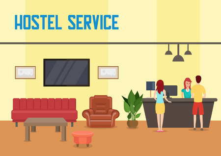 Hostel Service Concept. Reception and Hotel Accommodation. Hostel Restroom Interior and Check In. Man, Woman and Receptionist. Temporary Housing. Vector Flat Illustration.