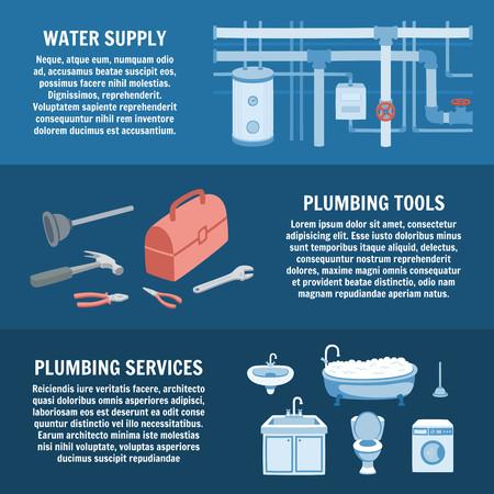Plumbing Service Set. Water Supply, Plumbing Tools, Plumbing Services. Vector Cartoon Illustration. Professional Plumber, Pipe Repair. Plumber Heating Water System. Vector Illustration