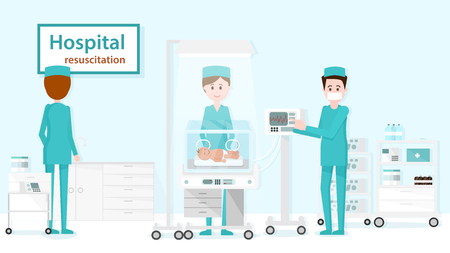 Department of Pediatric Resuscitation. Baby is Examined in Intensive Care. Pediatric Resuscitation and Baby Vector Cartoon Illustration for Pediatrics Medicine. Doctor Caring for Health of Child. Illustration