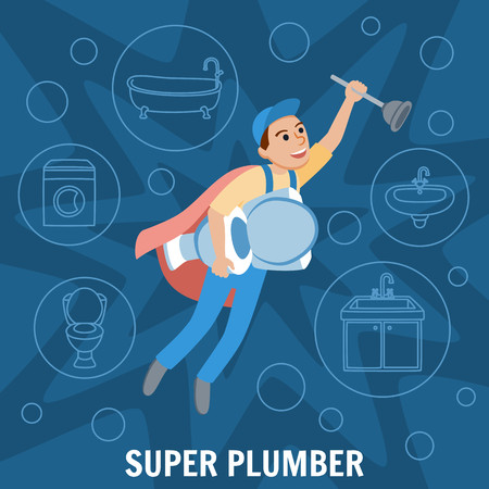 Super Plumber. Plumbing Service, Toilet cleaning. Toilet Bowl and Sewer. Superhero wearing Cape and holding Plunger and Toilet Bowl. Plumber Design Concept set. Vector Illustration. Illustration