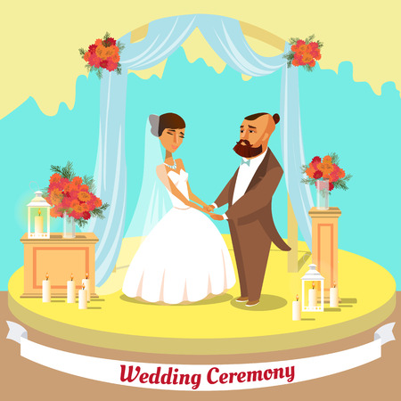 Wedding Ceremony Concept. Wedding Couple at Church. Happy Bridegroom in Wedding Suit and Bride in Dress. Marriage Ceremony day. Happy Couple Getting Married. Vector Flat Illustration.