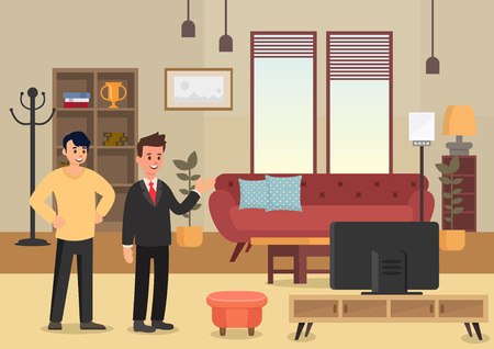 Demonstration Apartments. Business Real Estate Agency Concept. Broker, Selling Home and New Property. Buying House Set. Agent Offers Apartment to Man. Vector Flat Illustration. Stock Illustratie