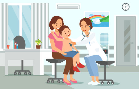 Examination by Pediatrician. Pediatric department in Hospital with Woman Doctor and Child during Examination. Doctor and Baby. Medical Health care Set. Vector Illustration in Flat style.  イラスト・ベクター素材