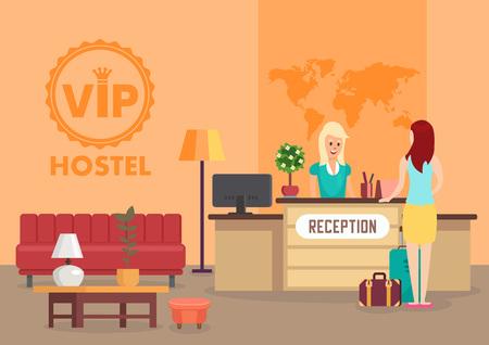 Usługa Vip Hostel i koncepcja wynajmu godzinowego. Recepcja i zakwaterowanie w hotelu. Wnętrze toalety w hostelu i zameldowanie. Kobieta i recepcjonistka. Zakwaterowanie tymczasowe. Płaskie ilustracji wektorowych.
