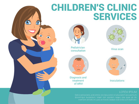 Children Clinic Services Concept. Examination by Pediatrician. Pediatric department in Hospital. Medical Health care Set. Pediatrician Consultation Banner. Vector Illustration in Flat style.  イラスト・ベクター素材