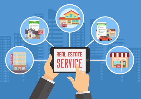 Real Estate Service. Advertising and Digital Technologies in Real Estate Business. Property Investment, Buy, Sell, Rent House and Apartment. Real Estate Agency Concept. Vector Flat Illustration. Imagens - 114495351