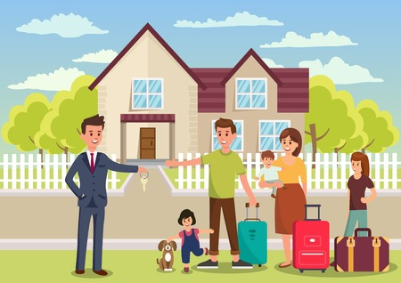 Family Buys House. Broker passes Key to New Apartments. Business Real Estate Agency Concept. Broker passes Key to New Apartments. Housewarming New housing. Vector Flat Illustration.
