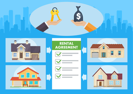 Real Estate Service. Advertising in Real Estate Business. Property Investment, Buy, Sell, Rent House and Apartment. Real Estate Agency Concept. Rental Agreement. Vector Flat Illustration.