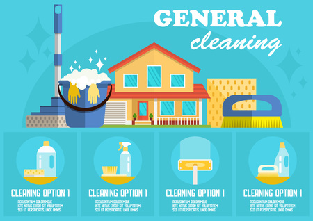 General Cleaning Concept. Dry Cleaning. Cleaning Business. Bucket, Brush, Mop and Detergent. Advertising Banner Cleaning Service. Disinfection at Home. Detergent Foam. Vector Flat Illustration. Ilustração