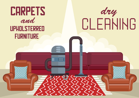 Dry Cleaning Carpets and Upholstered Furniture. Cleaning Service Business Concept. Washing Vacuum Cleaner. Advertising Banner Cleaning Service. House Disinfection. Vector Flat Illustration. Banco de Imagens - 114495614