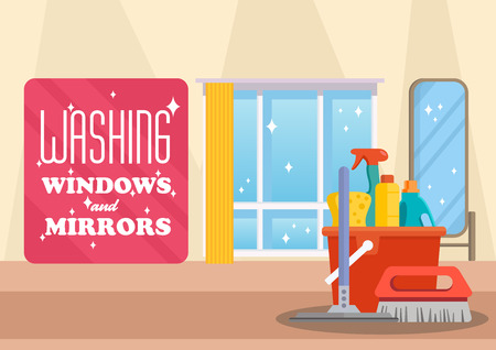 Washing Windows and Mirrors Concept. Cleaning Service Business. Housework at Home. Sparkling Clean Windows. Bucket, brush and Detergent. Advertising Banner Cleaning Service. Vector Flat Illustration.