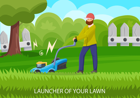Garden Equipment in Lawn. Lawnmower Concept. Natural Growth and Plant Care. Gardener Man Mows a Lawn Outdoors. Male and Garden Tools. Lawn near House. Vector Flat Illustration.