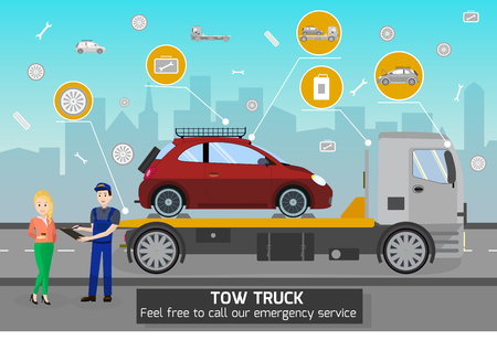 Tow Truck and Driver Services in City. Transportation company Business. Tow Truck Service and cityscape Concept. Car Evacuation, Roadside Assistance and Emergency Services. Vector Flat Illustration. Banque d'images - 127723553