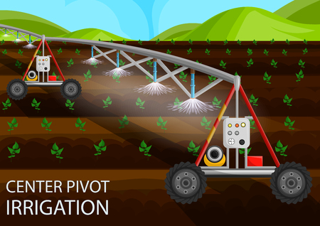 Center Pivot Irrigation Concept. Agriculture Field. Drip Irrigation of Sprout using Agricultural Machinery. Agriculture Field Industry. Growth Organic. Fertilizer on Field. Vector Flat Illustration. Illustration