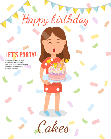 Birthday Cake Concept. Girl with Cake. Present and Sweetness. Homemade Bakery. Childrens Birthday Party and Sweet Cake. Order, Delivery and Decoration of Desserts. Vector Flat Illustration.