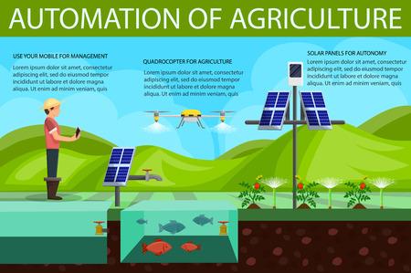 Automatización del concepto de agricultura. Riego por goteo de plántulas utilizando tecnología. Fertilizante en campo. Granjero de hombre trabajando. Crecimiento Natural Orgánico. Vector ilustración plana.