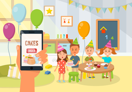 Children Birthday Party Concept. Homemade Bakery, Order and Cake Delivery. Application for ordering Sweets. Interior Decoration of Childrens Room for Birthday. Vector Flat Illustration. Stock Illustratie